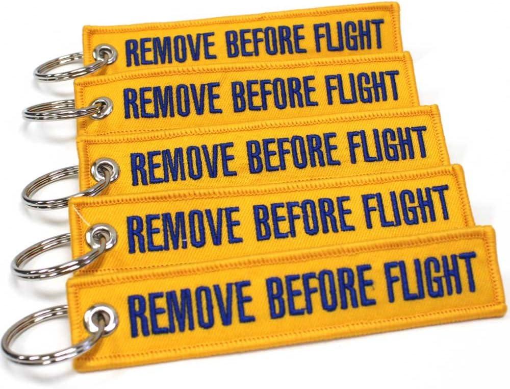 Rotary13B1 Yellow//Blue 5pcs Remove Before Flight Keychain