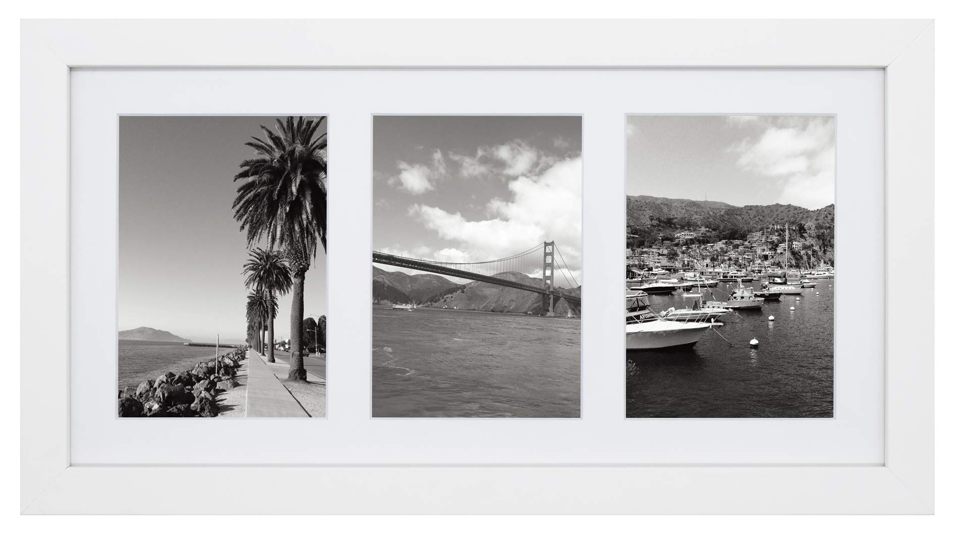 Golden State Art, 9x18 White Photo Wood Collage Frame with White Mat, displays (3) 5x7 Pictures with Real Glass by Golden State Art