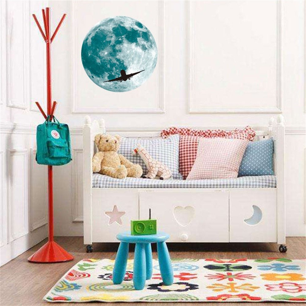 Pet1997 Luminous Lunar Wall Stickers, 3D Large Moon Fluorescent Wall Sticker, Removable Glow In The Dark Sticker (B)