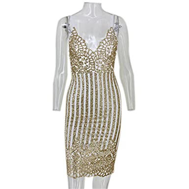 Bambidefoe Sexy Party Night sequin summer dress NEW Women V neck elegent vintage dresses Shinning Gold