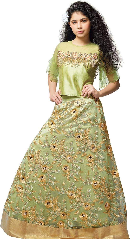 Amazon Com Heavy Work Crop Top Lehenga Set Lime Green Clothing