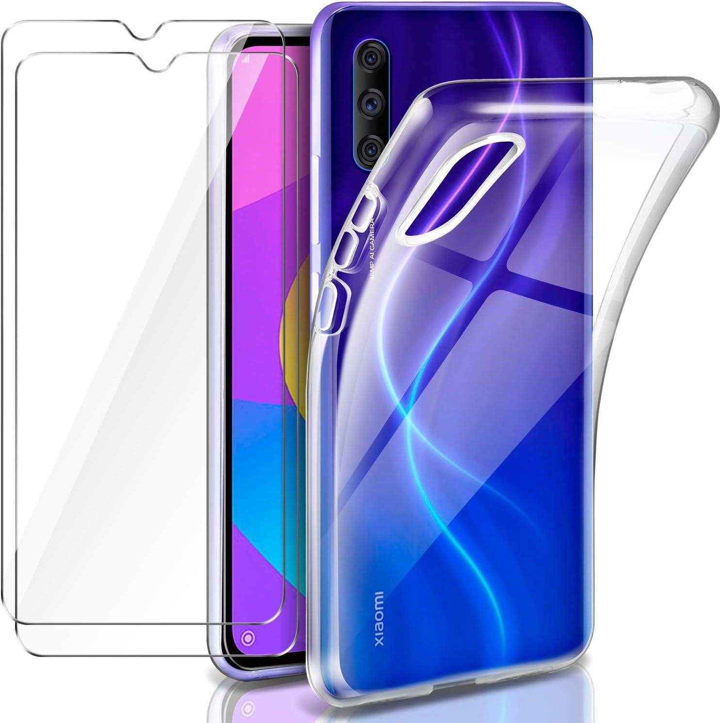 Leathlux Funda Xiaomi Mi 9 Lite + 2 x Protector de Pantalla Xiaomi Mi 9 Lite, Transparente TPU Silicona Funda + Cristal Vidrio Templado Protector de Pantalla y Caso Xiaomi Mi 9 Lite: Amazon.es: Electrónica