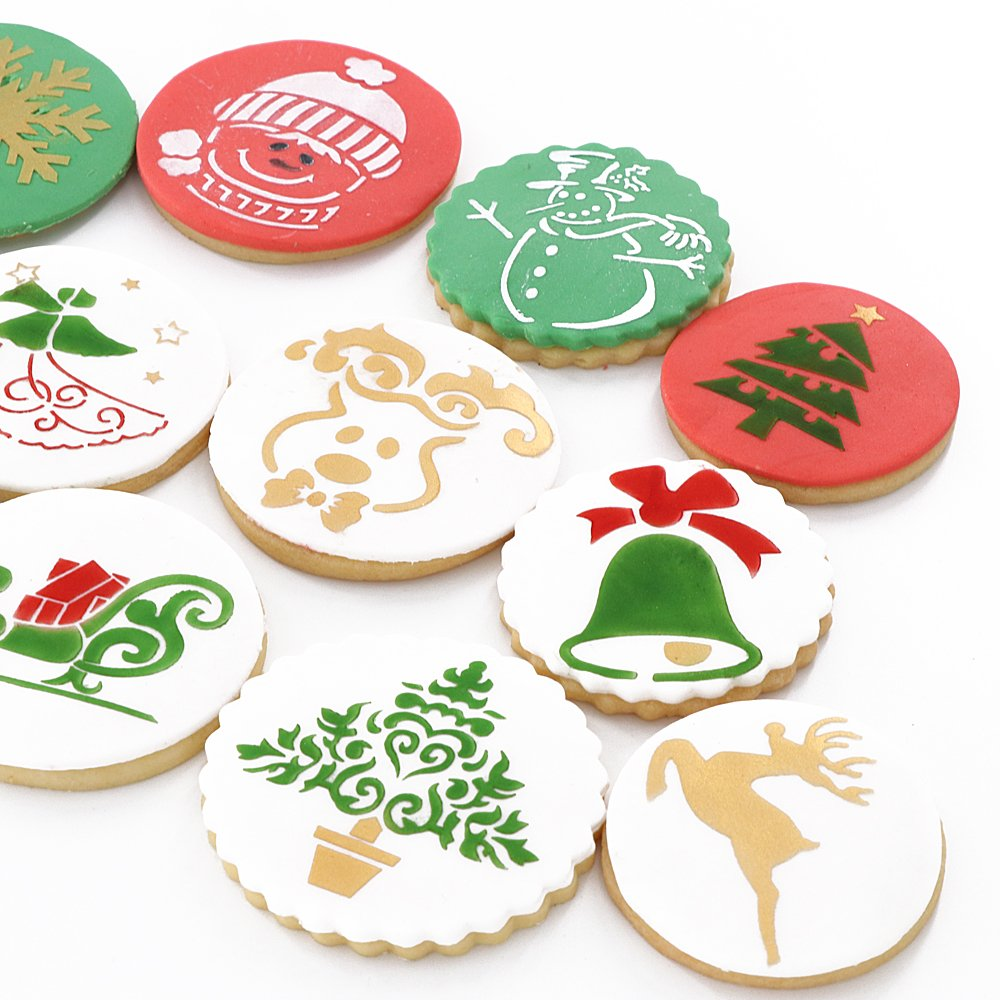 Christmas Cookie Stencils Fondant Cookie Mold, Food Grade Plastic, 12-Pieces Decorating Stencils(Snowflake) YOBeauty YO-MB032