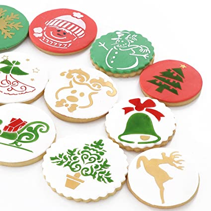christmas cookie stencil food decorating stencils for cookies 12 pieces snowman