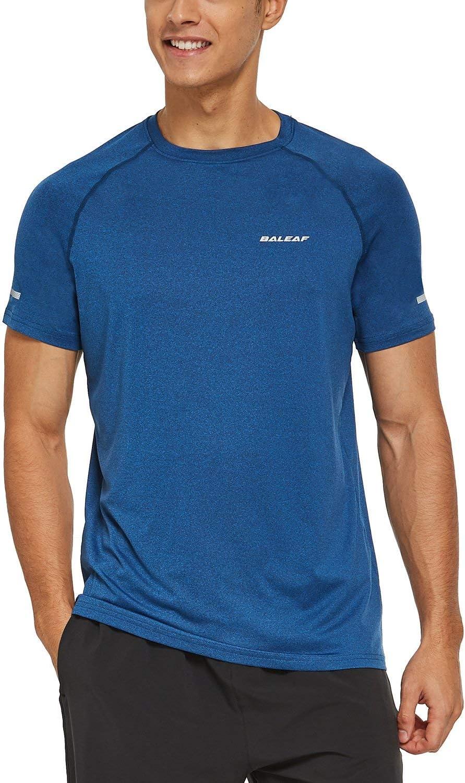 BALEAF Men's Quick Dry Short Sleeve T-Shirt Sun Protection Running Workout Shirts: Clothing