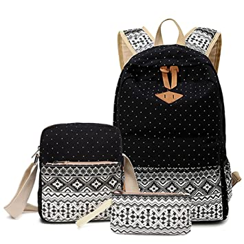 Abshoo Canvas Dot Backpack Cute Lightweight Teen Girls Backpacks ...
