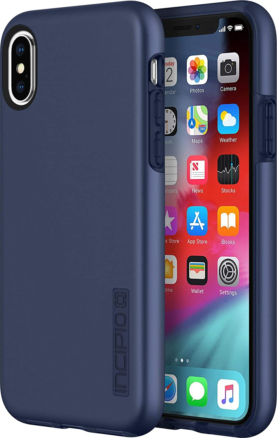 "Incipio DualPro Case for iPhone Xs (5.8"") & iPhone X Case with Hybrid Shock Absorbing Drop Protection - Midnight Blue"