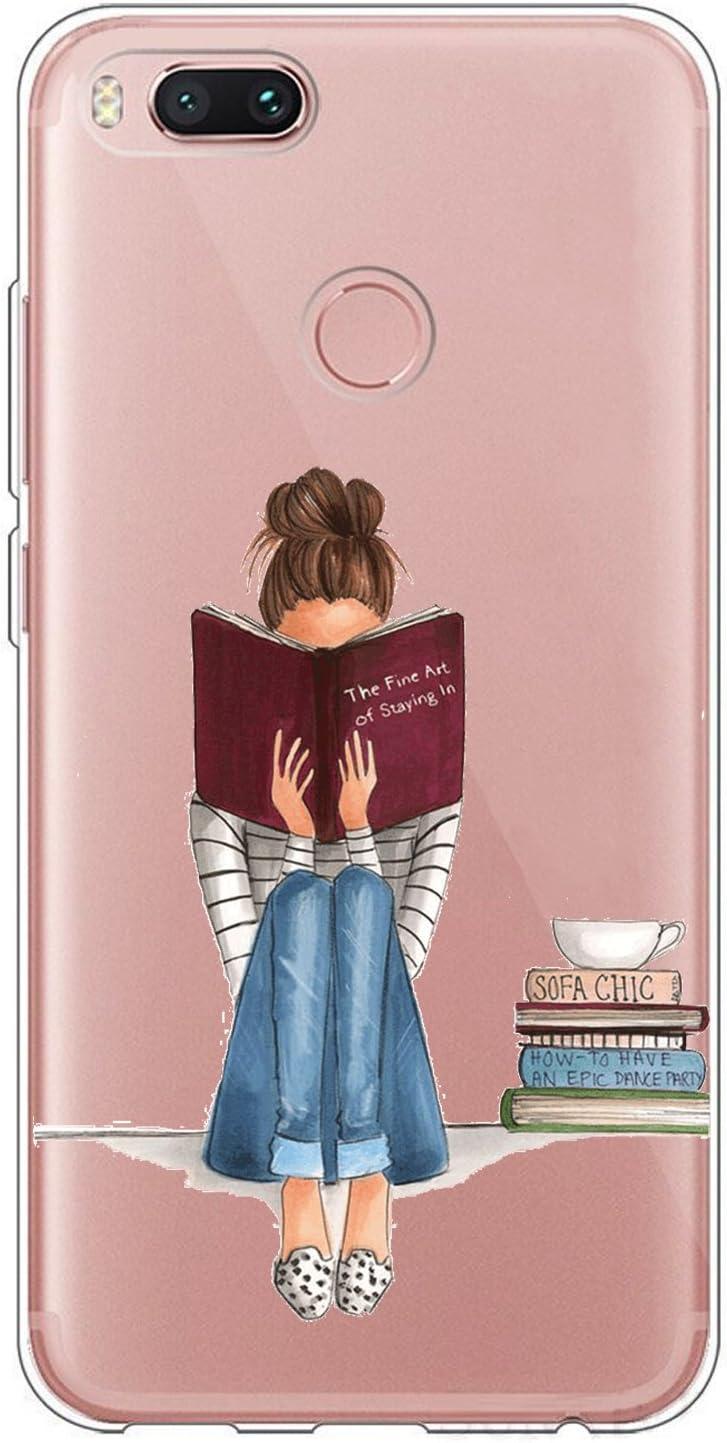 Suhctup Case Comaptible para Xiaomi Mi A1 / Mi 5X Funda Silicona Gel TPU Bumper Transparente Moda Lindo de Dibujos Antigolpes Carcasa Protección Anti-rasguños Ultra-Delgado Clear Cover,Niña
