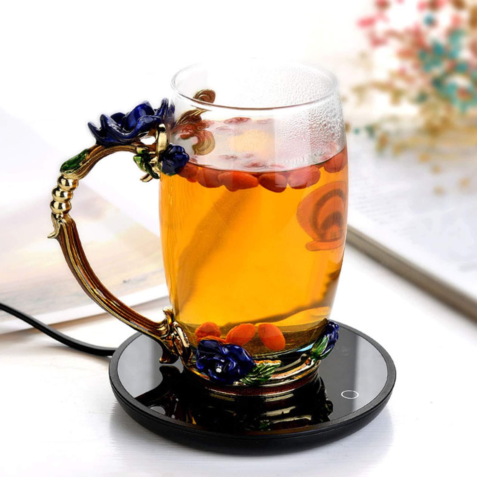 Lantsang Coffee Mug Warmer,USB Thermal Insulation Heating Coaster,Equipped with a Coffee Tea Room and Home Milk Warmer (Black)