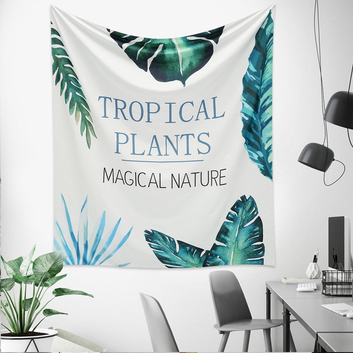 Jeteven Tapisserie Murale Mandala Tenture Tapisserie Hippie Couverture Pique-Nique Nappe Tapisserie Indienne (Tropical Plants 150 x 130cm)