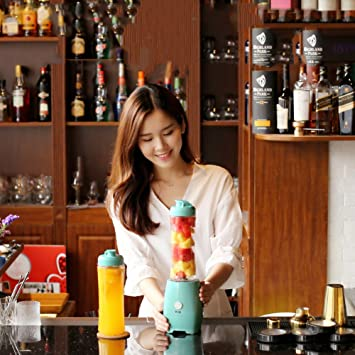 DULPLAY Taza de jugo, Mini exprimidor, Acero inoxidable, Completamente automático, Doble taza, Mezclador de fruta Personal portable Smoothie Frutas ...
