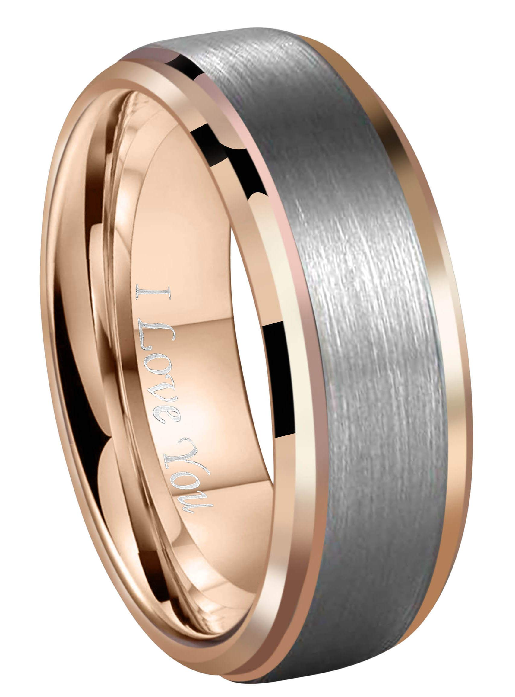 Crownal 8mm 18K Rose Gold Tungsten Wedding Band Ring Men Women Brushed Center Beveled Edges Comfort Fit Engraved''I Love You'' Size 6 To 17 (8mm,17)