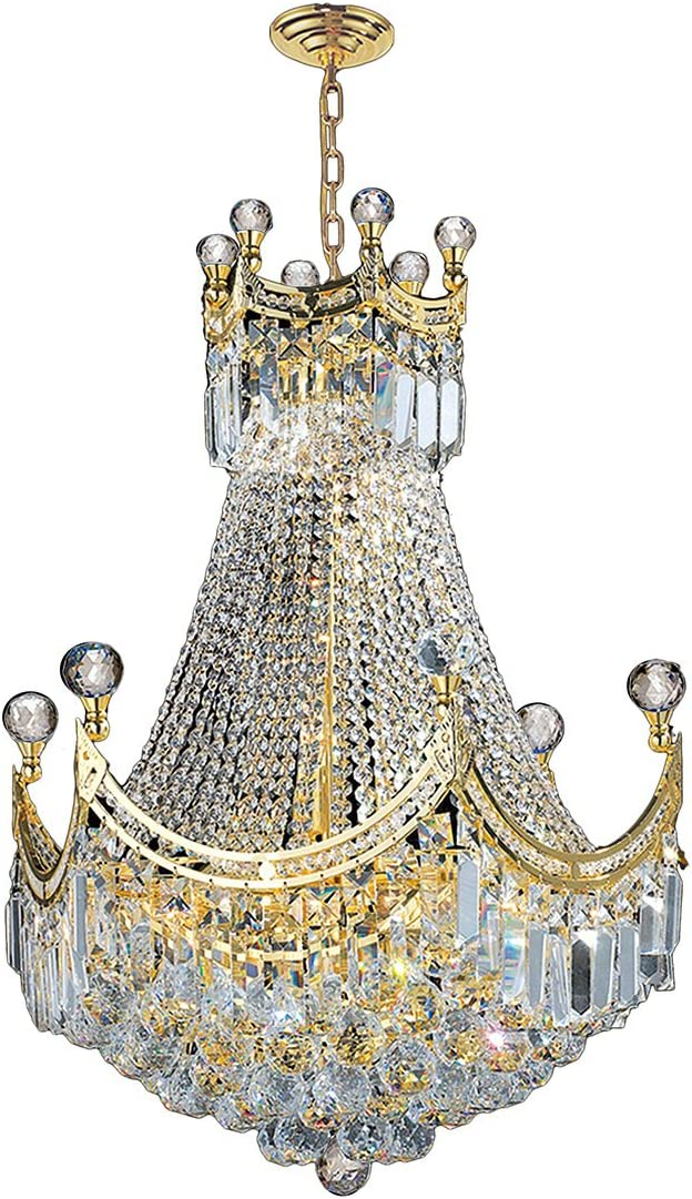 Worldwide Lighting Empire Collection 9 Light Gold Finish Chandelier 20 D x 26 H Round Medium