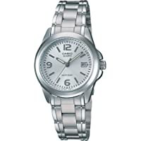 Casio LTP-1215A-7ACR Reloj Análogo de Vestir para Mujer, color Blanco/Plata