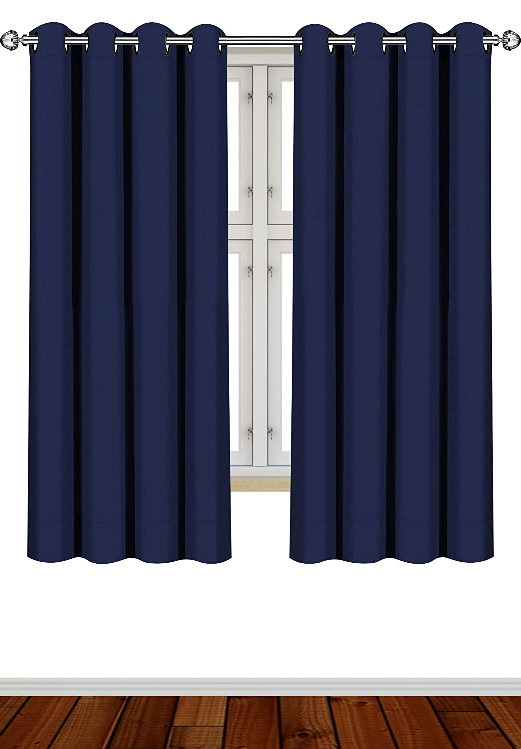 Utopia Bedding 2 Panels Eyelet Blackout Curtains Thermal Insulated for Bedroom, 46 x 54 Inches, Navy (Navy Blue)
