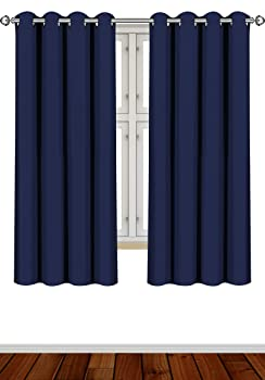 Utopia Bedding 2 Panels W52 X L63 Inches, Navy Blackout Curtains