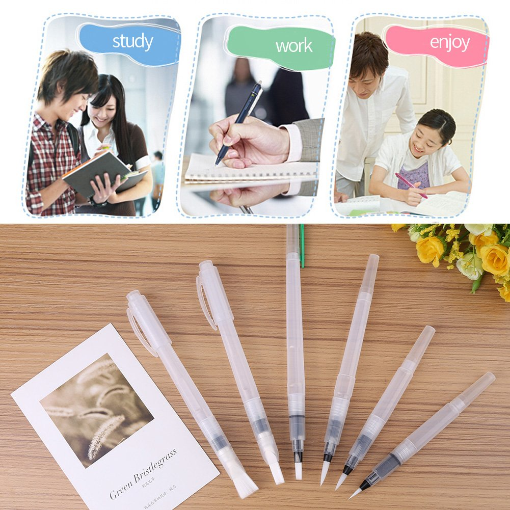 Calligraphy Blending Drawing 6PCS Large Capacity Soft Water Coloring Brush Pen Refillable for Watercolor Painting