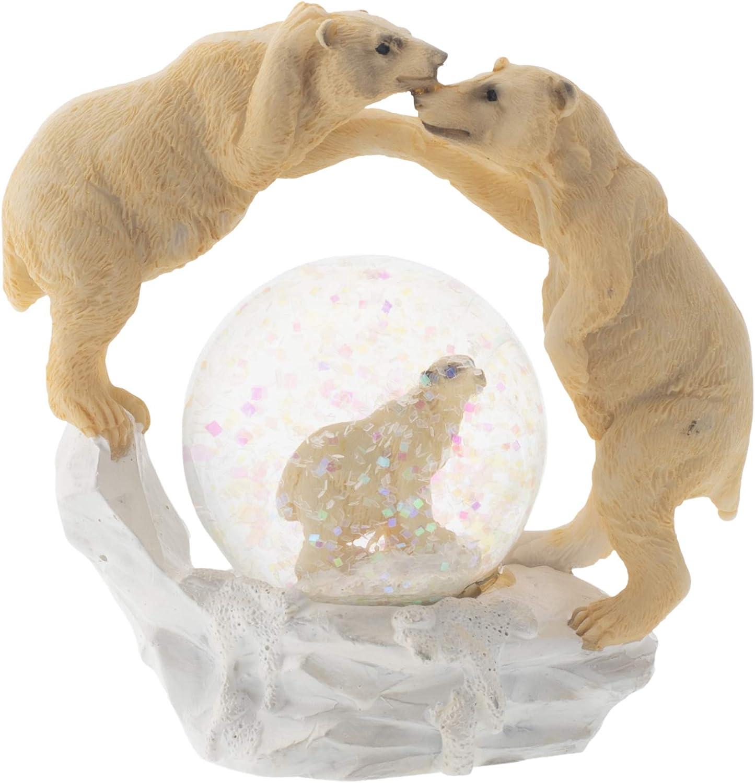 Elanze Designs White Polar Bear Family Figurine 45MM Glitter Water Globe Decoration