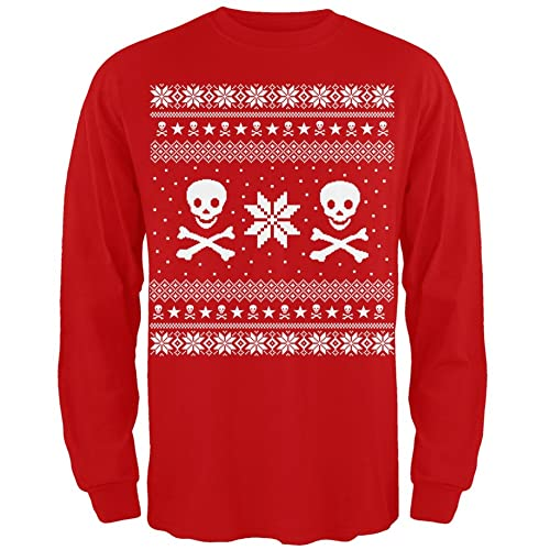 skull crossbones ugly christmas sweater red long sleeve - Band Christmas Sweaters