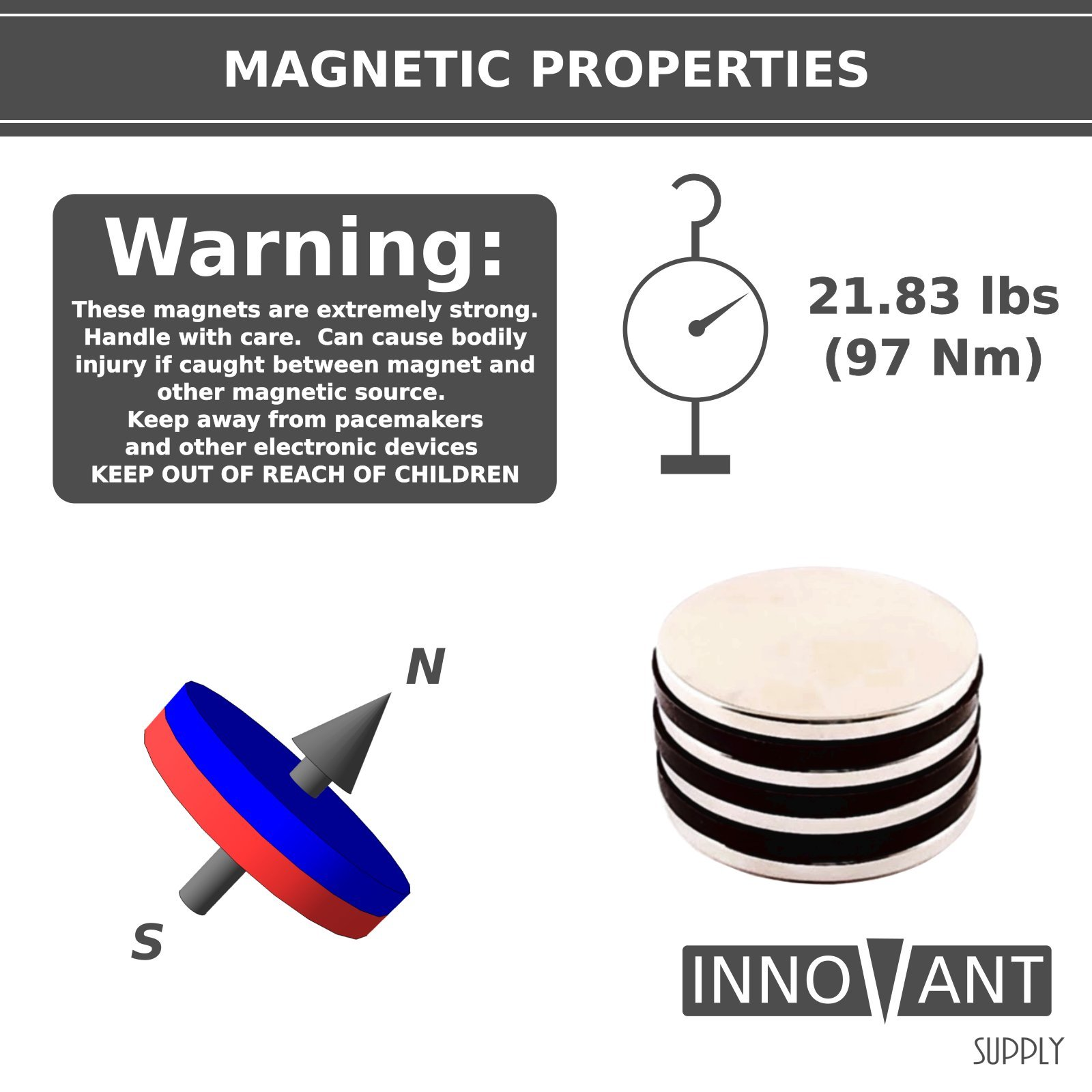 INNOVANT 4 Pack Neodymium Disc Magnets 1 1/2'' d x 1/8'' h N45 Grade Strong Permanent Rare Earth Magnets - Best for DIY Arts & Crafts Projects, School Classroom Science Project & Office or Work Supply by Innovant Supply (Image #3)