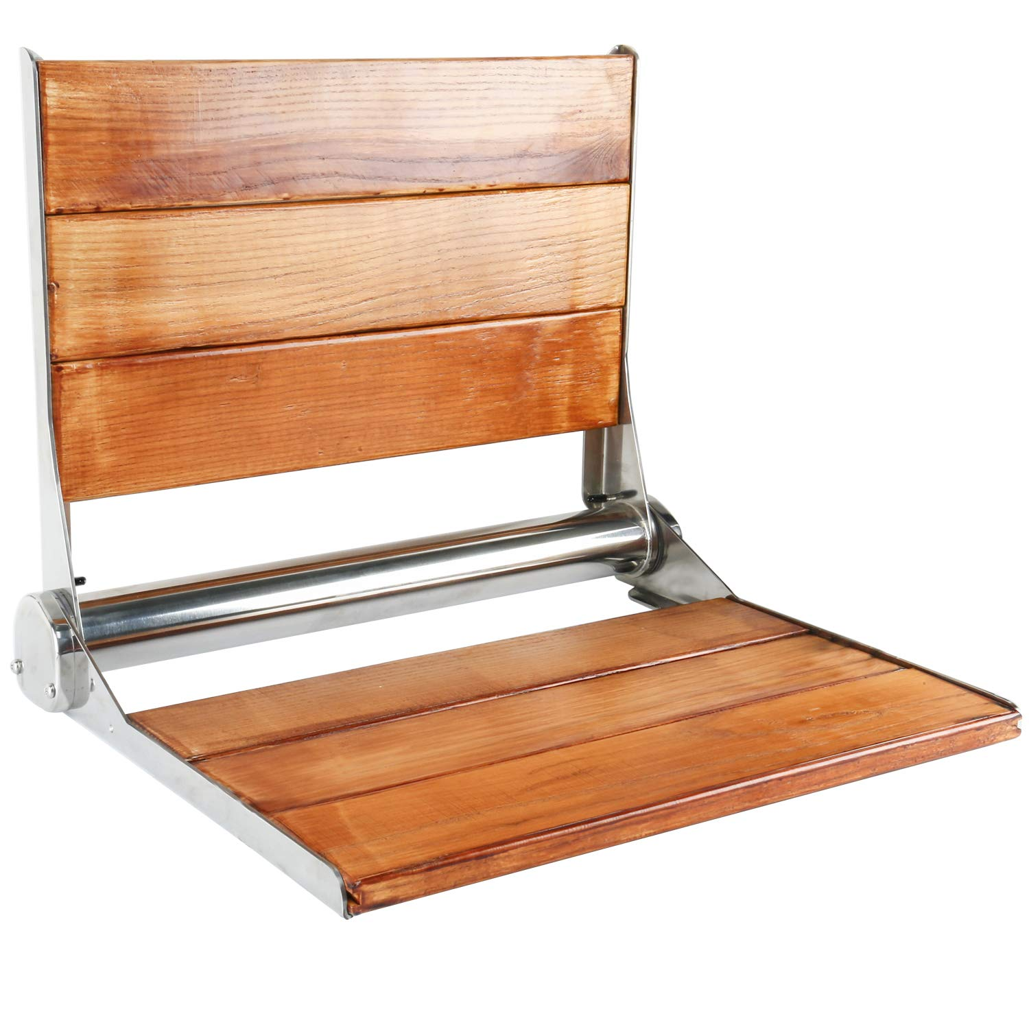 Amarine-made Solid Wood Wall Mounted Folding Shower Seat or Bench - 4018S (19'' x 15'',Solid Wood with Stainless Steel Frame)