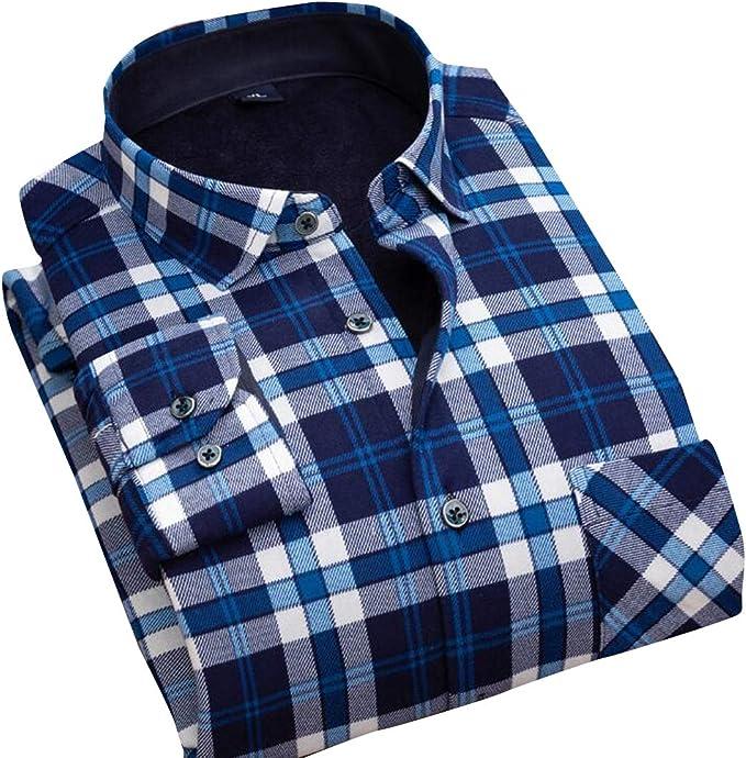 Heless Men Long Sleeve Stripe Slim Winter Fleece Lined Button Down Dress Work Shirt