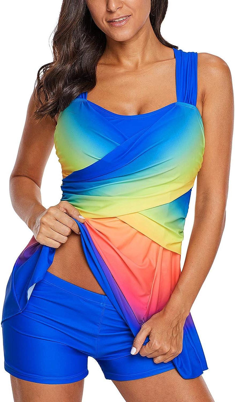 Eduavar Women Swimsuits Tankini Dress Plus Size Two Piece Printed Bathing Suit Ladies Swim Dress Swimwear Beachwear
