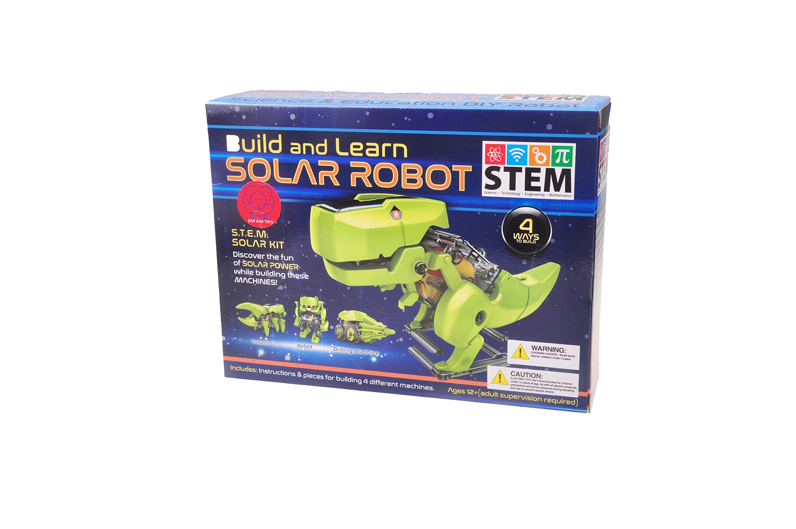 BAA BAA TOYS STEM Build and Learn Toy Solar Robotic Kit for Boys and Girls 4 in 1 Solar Power Building Kit Fun Learning Building Robotic Set for Kids Age 8 9 10 11 12 13 14 15 and Up by BAA BAA TOYS