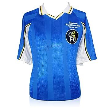 Gianfranco Zola Firmado bordado Chelsea 1998 camiseta de la Recopa de Europa