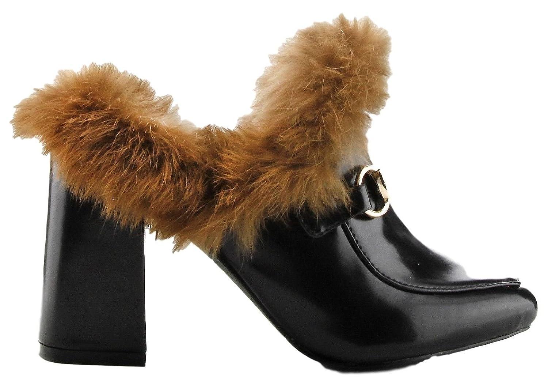 Cape Robbin Bridgette-4 Closed Toe Fur Slip On Slide Mule Block Chunky Heel Shoe Black
