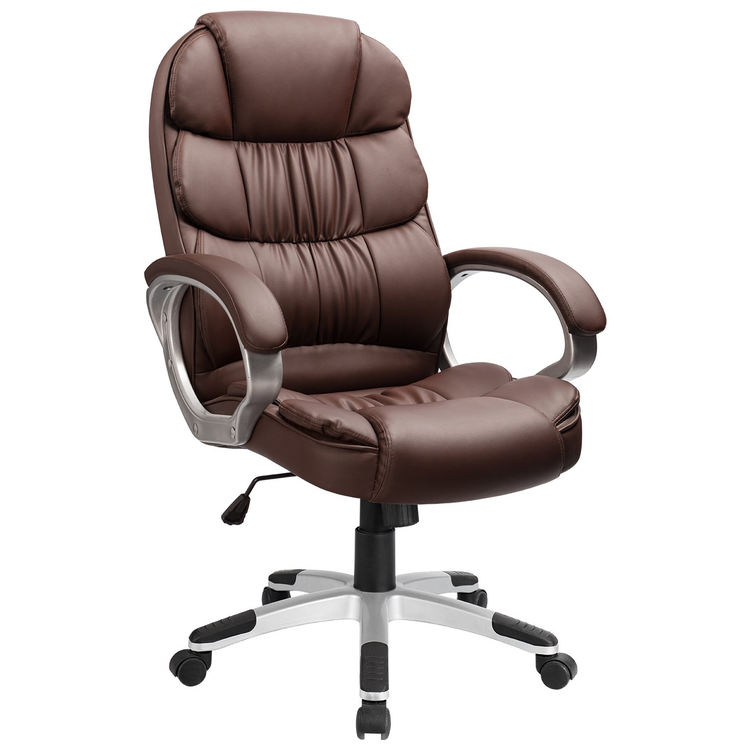 Furmax High Back Office Chair PU Leather Executive Desk Chair with Padded Armrests,Adjustable Ergonomic Swivel Task Chair with Lumbar Support (Brown) by Furmax