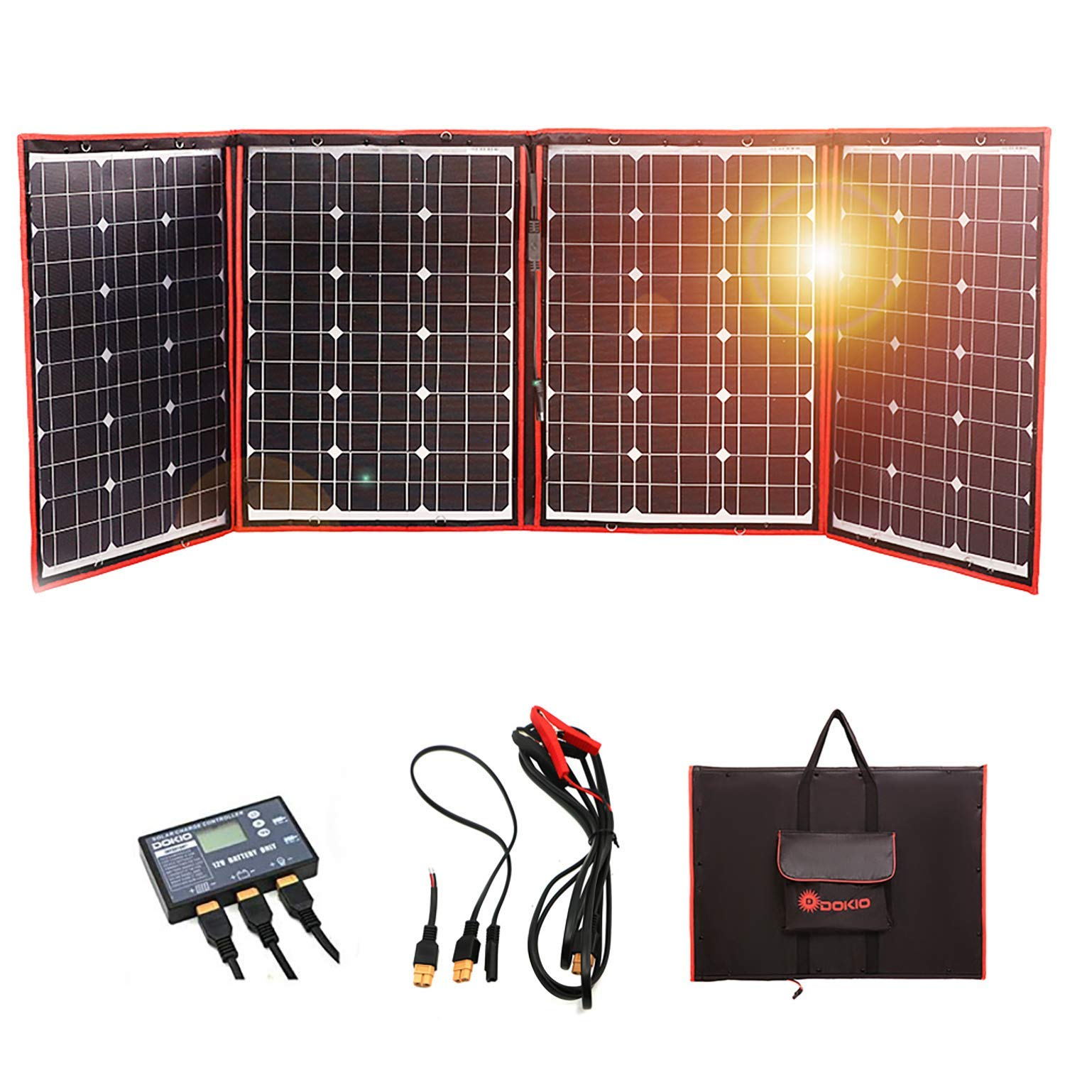 DOKIO 220 Watts 12 Volts Monocrystalline Foldable Solar Panel with Charge Controller by DOKIO