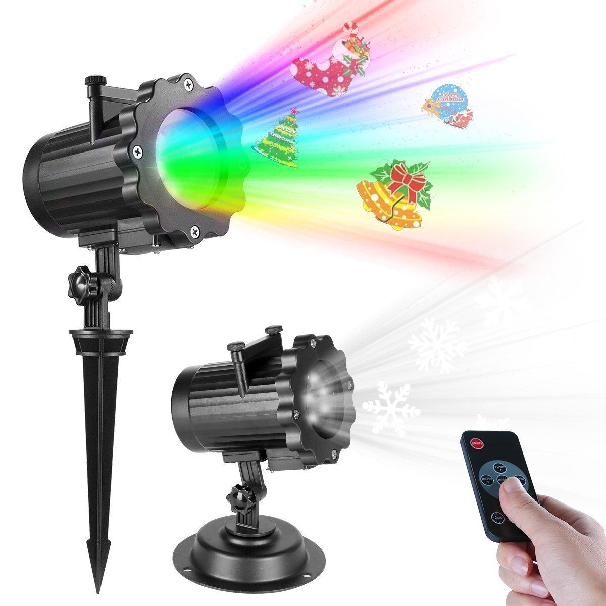 Projecteur Noël LED Extérieur Lampe Lumière avec télécommande RF minuterie automatique de marche / arrêt, étanche LED Paysage Spot Lampes d'atmosphère Effet de Vidéoprojecteur Lumière … TTKTK
