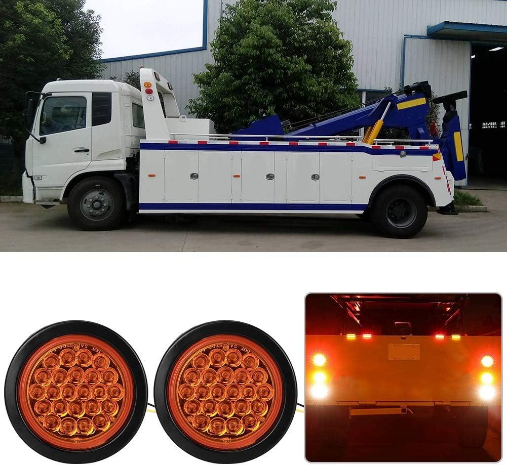 KIMISS 2pcs ronda 24 LED luces traseras impermeables con soporte de l/ámpara de goma para cami/ón remolque RV /ámbar