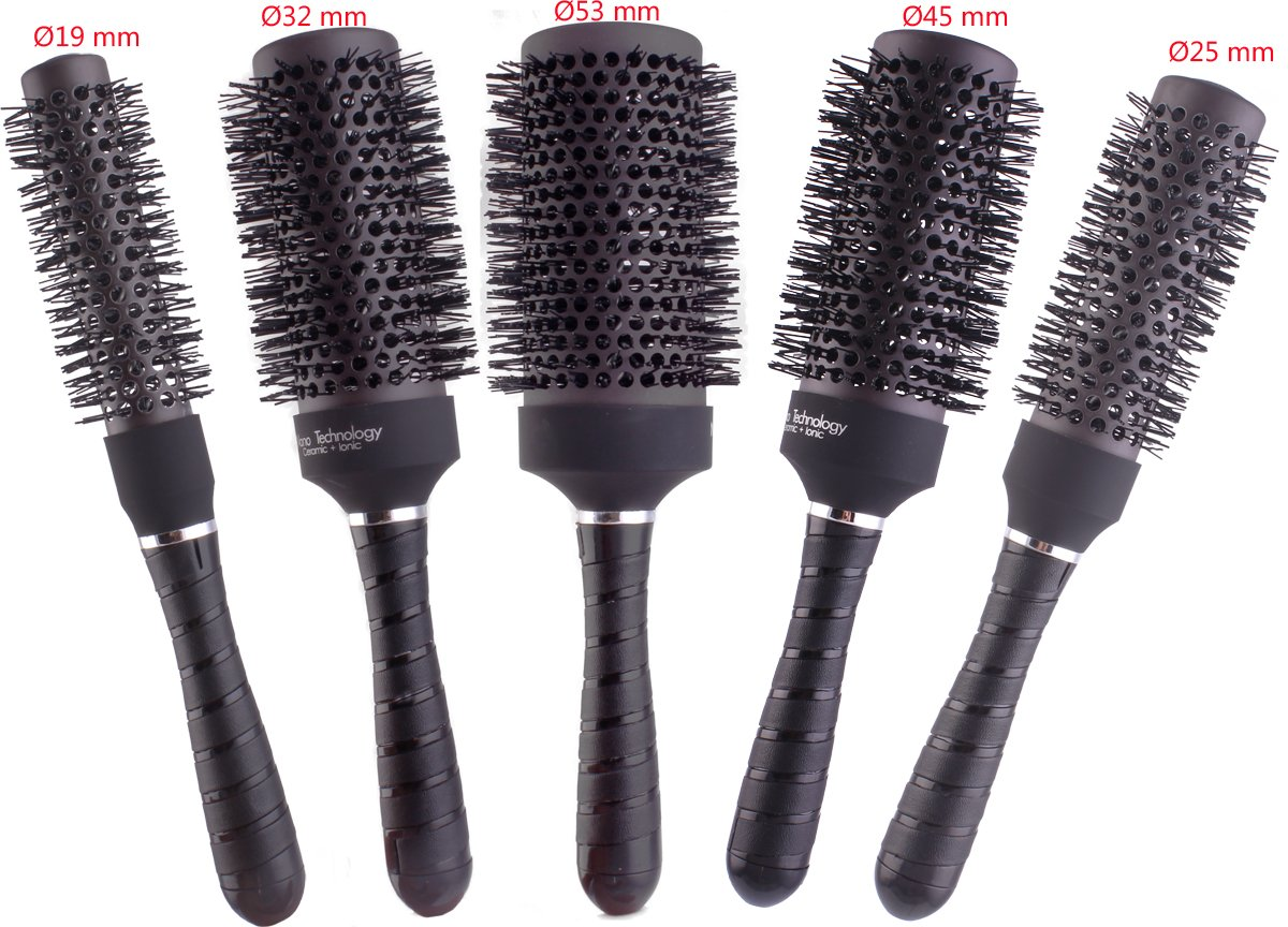 Round Thermal Brush Set, Professional Nano Ceramic & Ionic Barrel Hair Styling Blow Drying Curling Brush, 5 Different Sizes Perfehair HB028-5