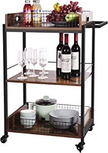 X-cosrack Home Bar & Serving Carts,3-Tier Wood Kitchen Islands & Carts,Utility Storage Cart with Wheels and Handle,for Home, Office, Restaurant, Hotel