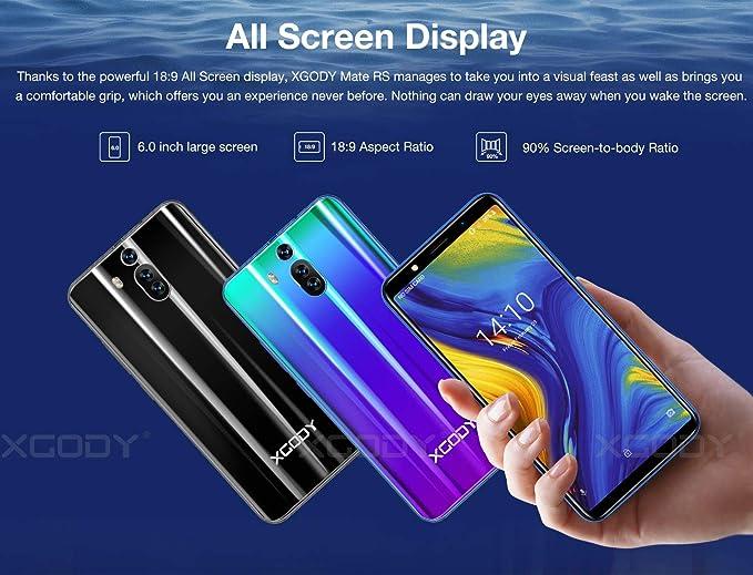 Xgody - Teléfono móvil Android 8.1 de 6 pulgadas con doble cámara ...