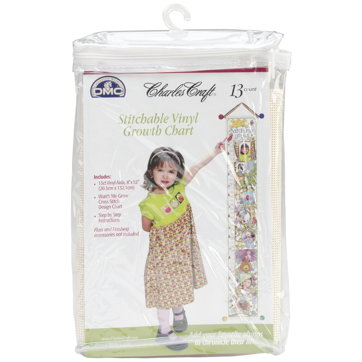 DMC Ready To Stitch Baby Collection Vinyl Growth Chart, 8 by 52-Inch, White