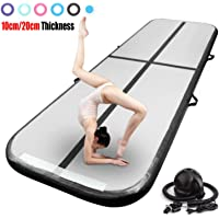 Air Track Gymnastics Mat 3,4,5,6,7,8m Length 10/20cm Thick Inflatable Air Track Tumbling Mat Tumble Floor Mats with Electric Air Pump for Tumble Gym,Training,Home,Cheerleading,Martial Art,Beach,Park and Water Pool