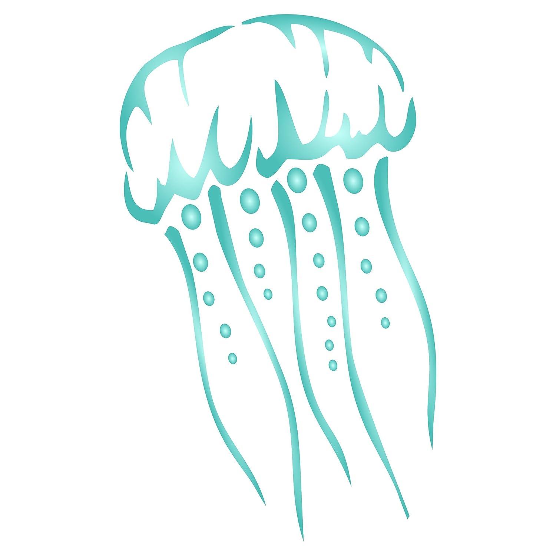 Jellyfish stencil–riutilizzabile Sea Ocean Nautical Seashore Reef Wall stencil template–da usare su carta progetti scrapbook Bullet Gazzetta muri pavimenti tessuto mobili in vetro legno ecc. s Stencil Company