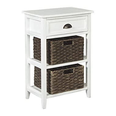 Ashley Furniture Signature Design - Oslember Storage Accent Table - Includes 2 Brown Removable Baskets - Antique White Finish