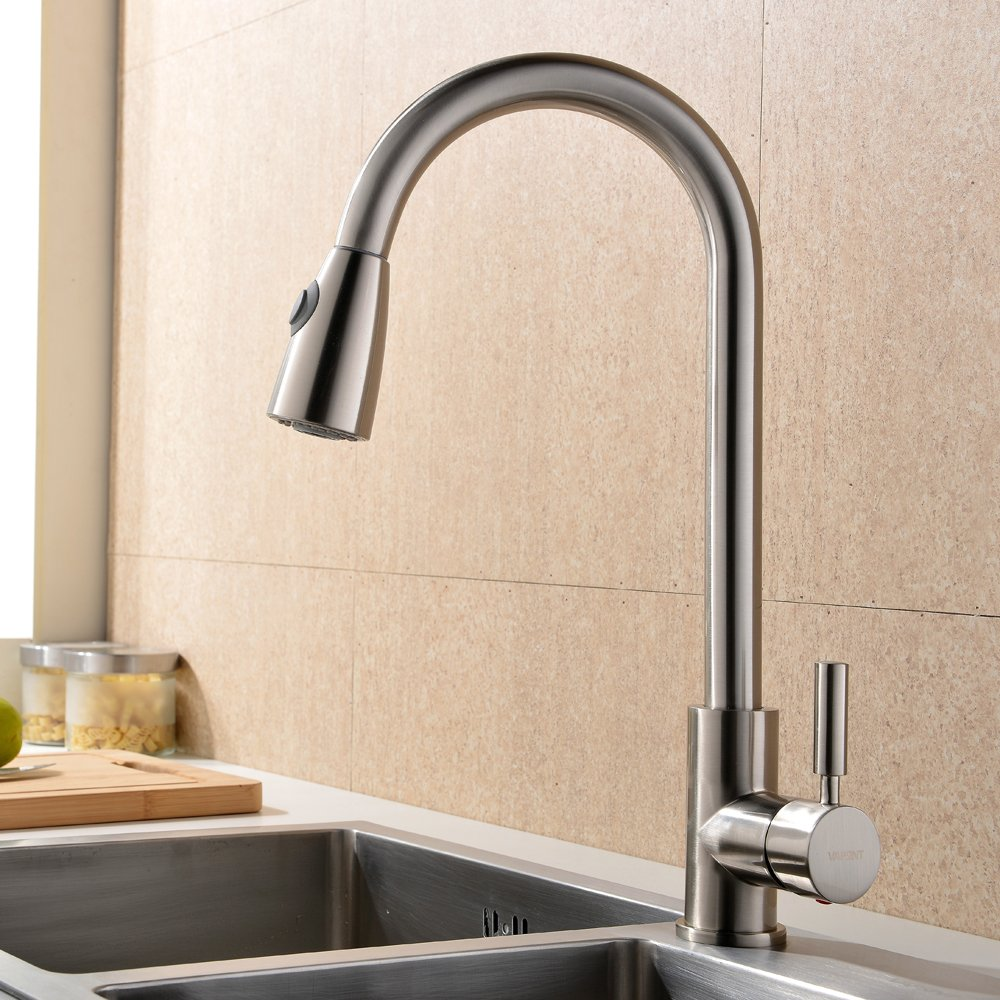 Pull out spray kitchen taps uk - Taps Uk Modern Stainless Steel Single Lever Pull Down Pull Monobloc Out Swivel Spout Spray Sink Kitchen Mixer Taps Solid Polished Brushed Steel Kitchen