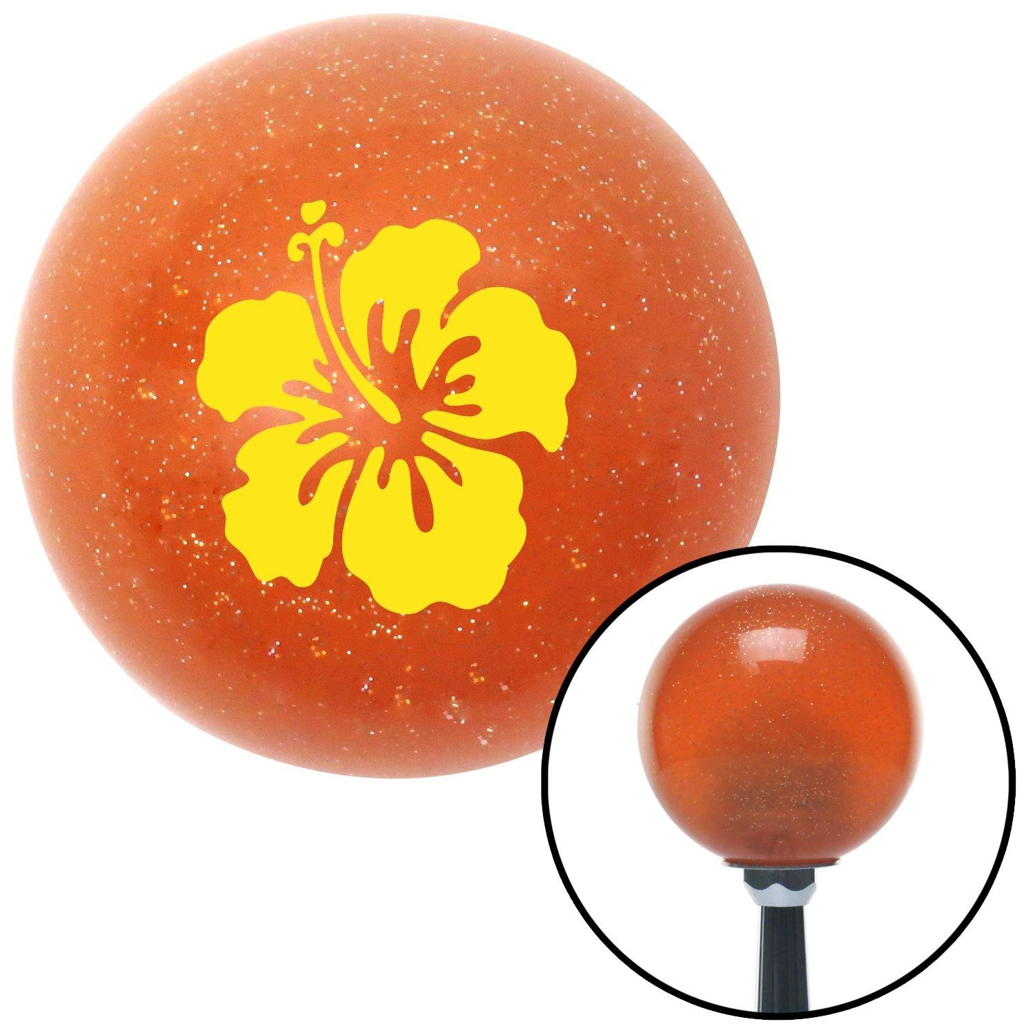 American Shifter 43646 Orange Metal Flake Shift Knob with 16mm x 1.5 Insert Yellow Hawaiian Flower #9