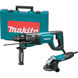 """Makita HR2641X1 SDS-PLUS 3-Mode Variable Speed AVT Rotary Hammer with Case and 4-1/2"""" Angle Grinder, 1"""""""