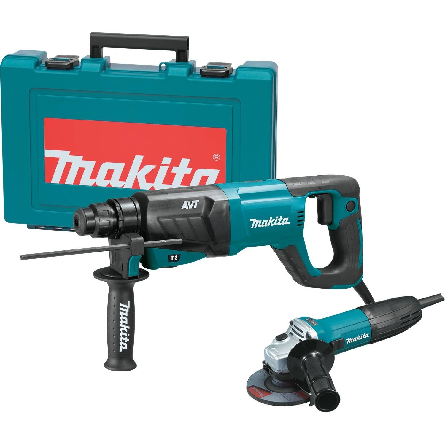 Makita HR2641X1 SDS-PLUS 3-Mode Variable Speed AVT Rotary Hammer with Case and 4-1/2'' Angle Grinder, 1''
