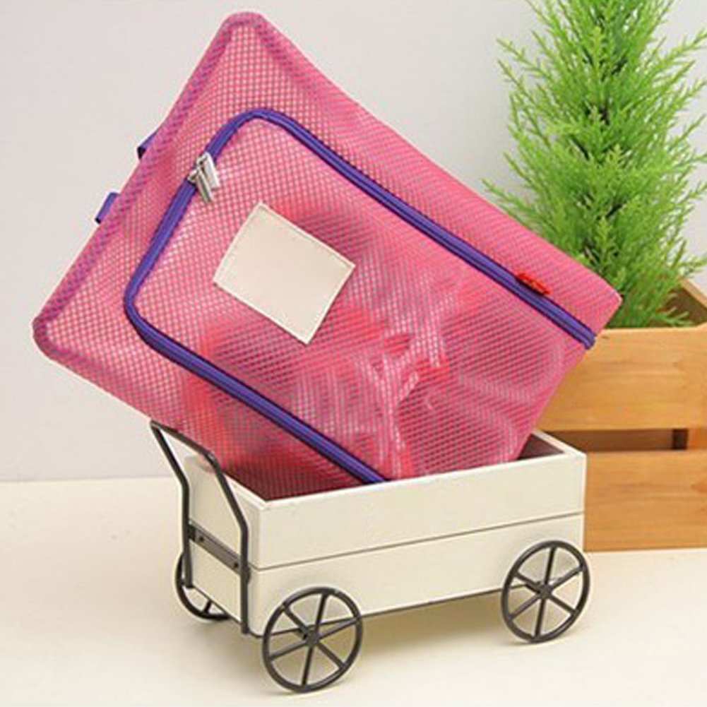 yingyue Durable Convenient Translucent Waterproof Storage Bag with Zipper Closure Container Travel Business Accessories Rose Red