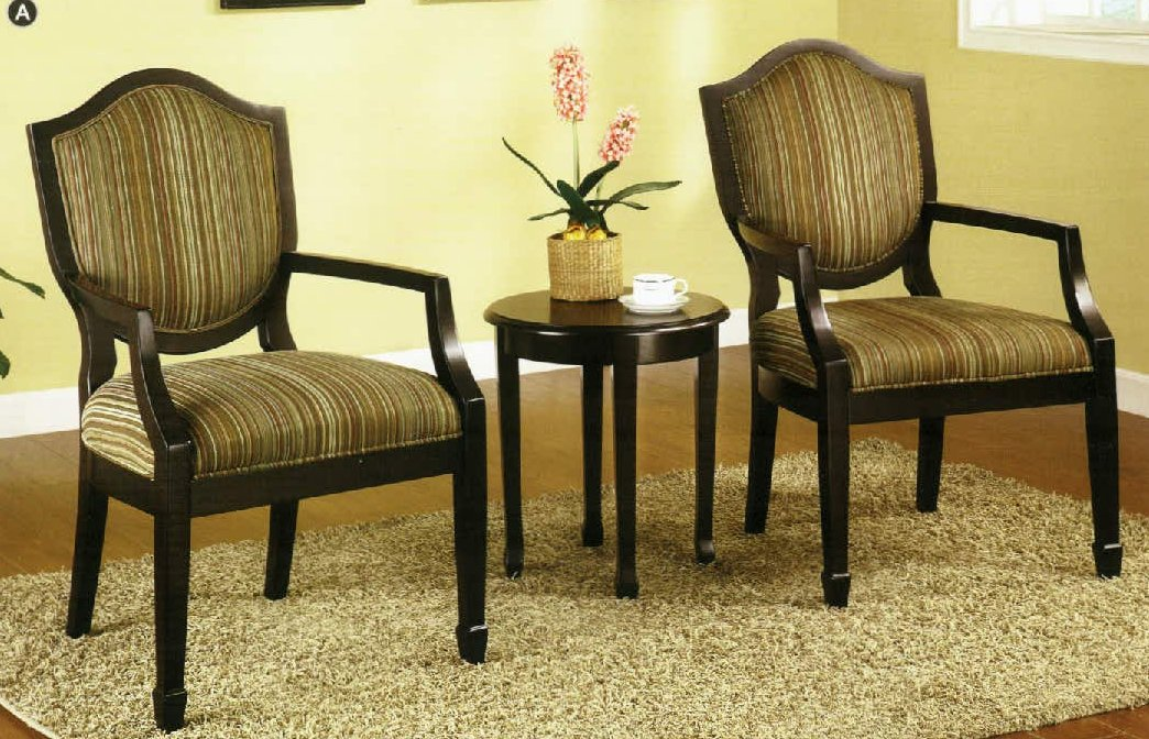 Amazon.com : 3 Pc. Set Of 2 Accent Chairs Table : Living Room Chairs :  Beauty Part 58