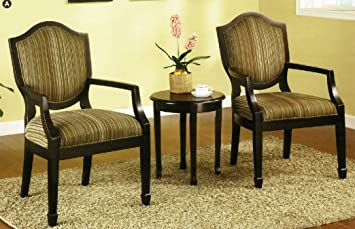 3 Pc  Set of 2 Accent Chairs Table Amazon com Living Room