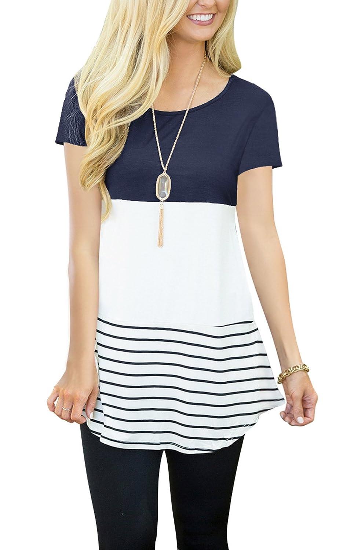 Women's Short Sleeve Color Block Top Shirt Tee