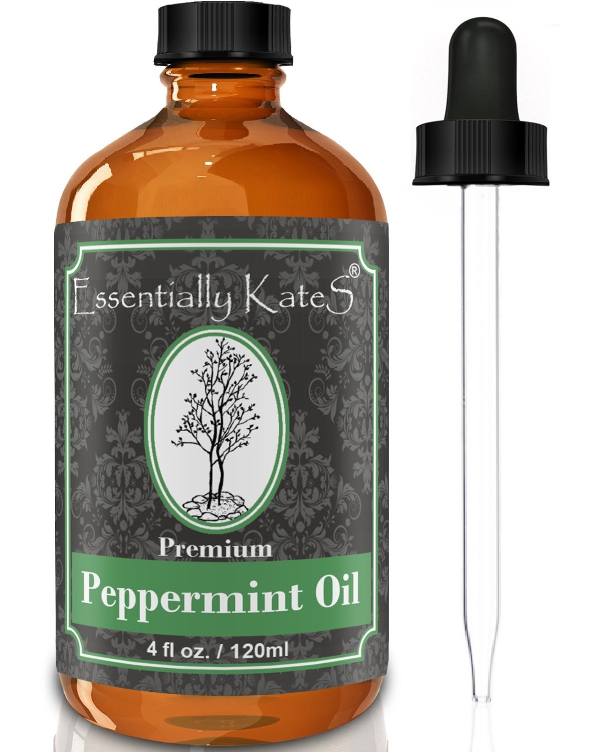Peppermint Essential Oil 4 oz. with Detailed User's Guide E-Book and Glass Dropper by Essentially KateS. by Essentially KateS
